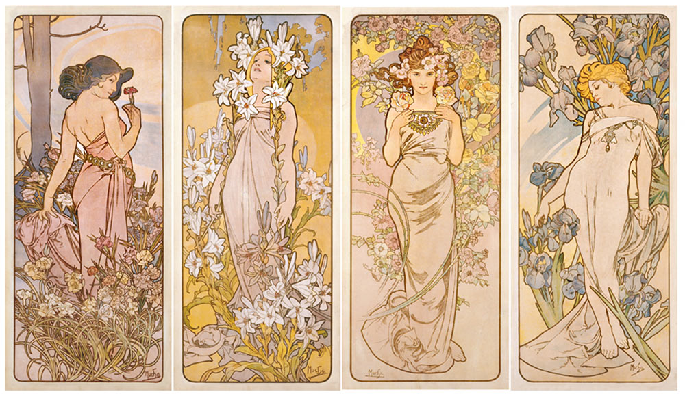 A set of four tall, narrow panels, each with a woman adorned with a different flower. The shades are pastel pinks, yellows and golden tones. At the Mucha Museum, Prague.