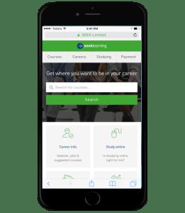Updated SEEK Learning mobile homepage