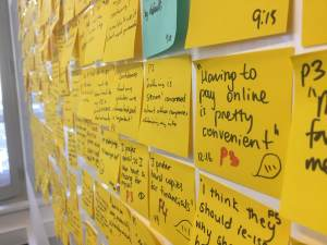 Post-it observations from usablity testing during a Design Sprint