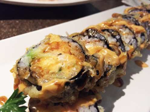 Tempura Bagel Sushi Roll $13 @ Cho Oishi Los Angeles California