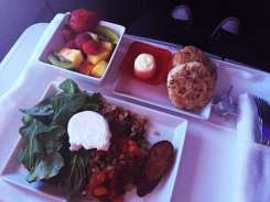 Airline Breakfast Poached Eggs @ Virgin America First Class