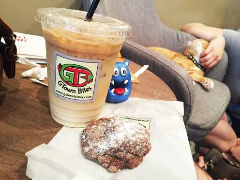 Coffee and Cookie from Gtown Bites at Crumbs & Whiskers Cat Cafe