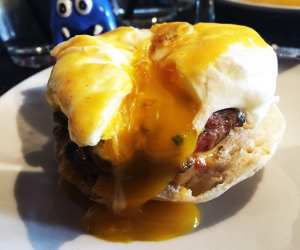 Spicy Lamb Benedict $8 @ Cava Mezze on Capitol Hill in Washington DC
