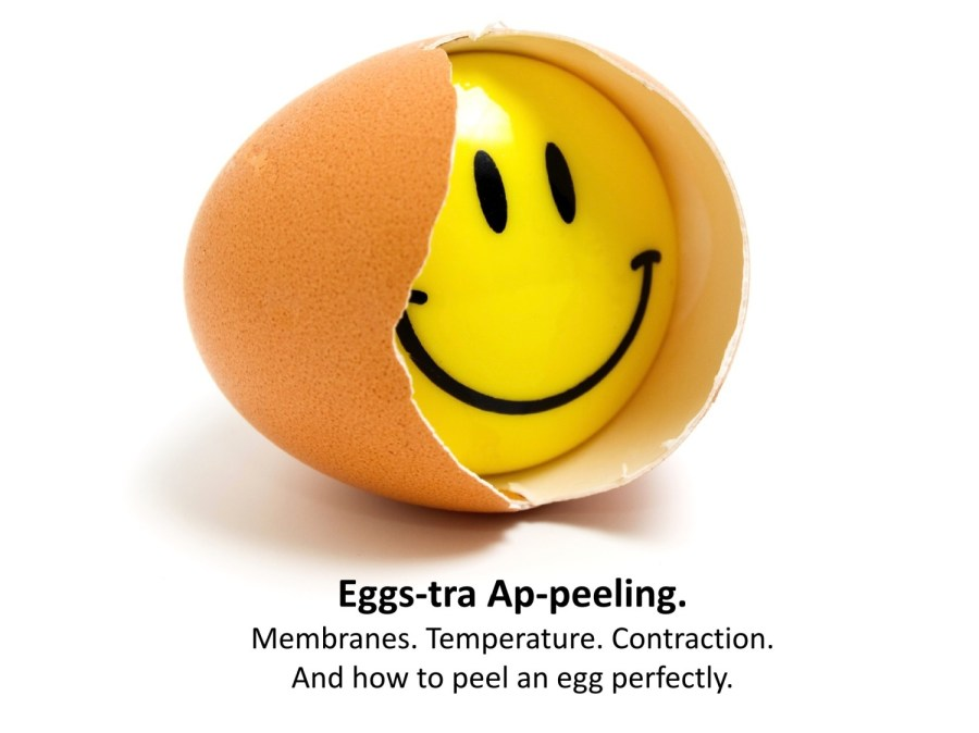 Smiling egg - peeling the perfect egg is about getting the temperature difference right.