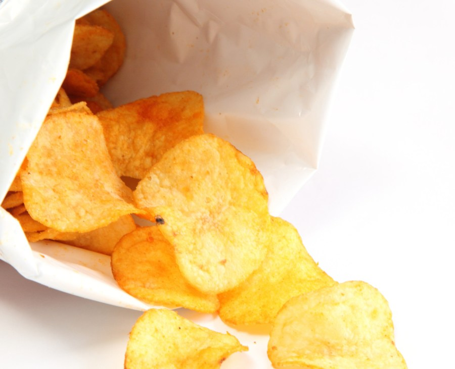The bags of potato chips are designed to slow down oxidation and to keep the chips fresh