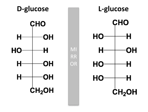 D-glucose and L-glucose are stereoisomers and enantiomers because of forces and bonds like van der Waals forces