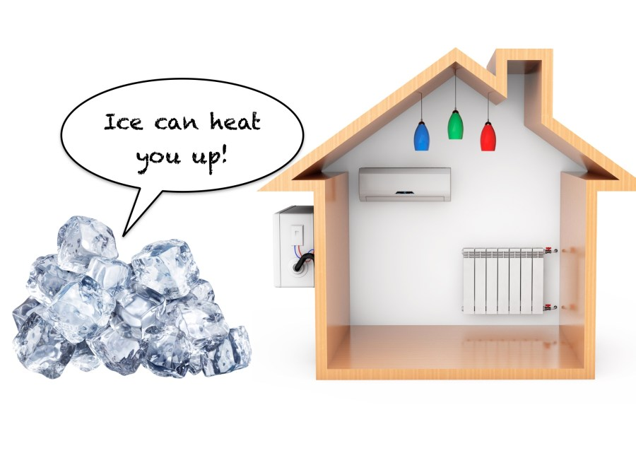 latent heat when ice freezes can be used to heat houses