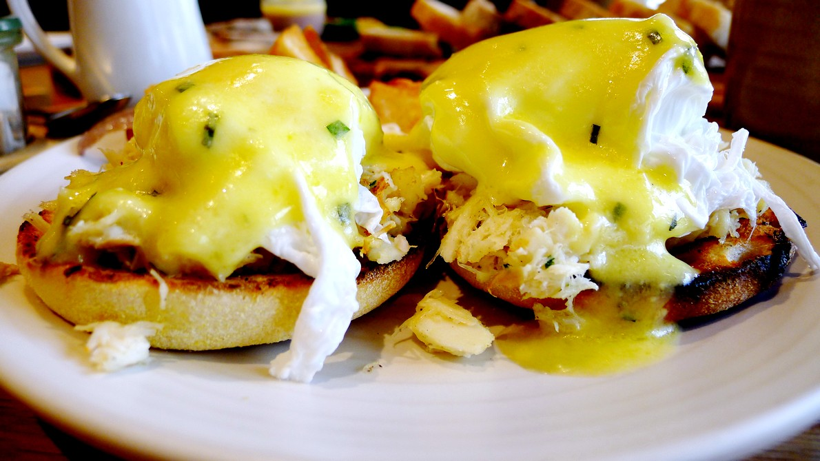 forage vancouver downtown listel hotel seafood restaurant Forage Vancouver Brunch Menu crab meat and halibut egg benedict, charcuterie, chicken liver parfait, pickled walnuts, Mimosa, French toast, Chris Whittaker