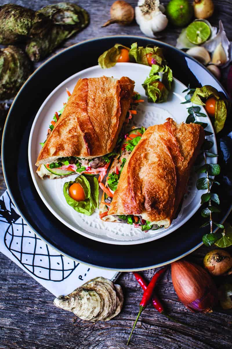BEST Vietnamese Fresh Oyster Banh Mi Sandwich recipe from THE GREAT SHELLFISH COOKBOOK REVIEW Matt Dean Pettit NOMSS.COM SEAFOOD RECIPE BLOG