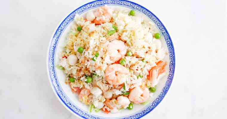FRIED GARLIC SEAFOOD FRIED RICE 金蒜海鮮炒飯