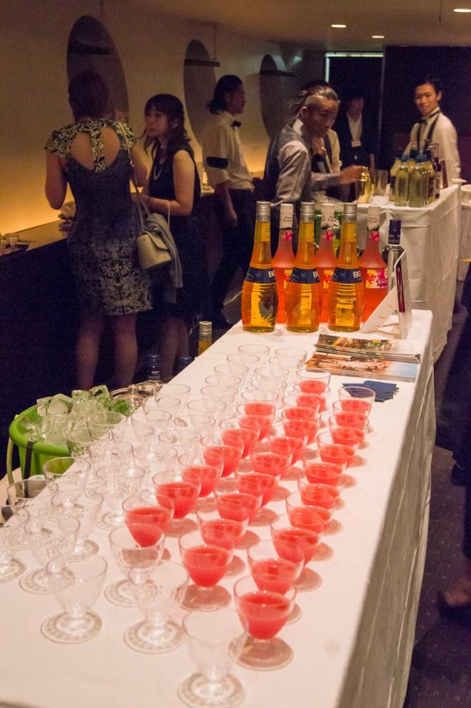 """Twilight"" by ZET the bar & grill: -20ml Viru Valge Classic -15ml Marie Brizard Watermelon liqueur -15ml Marie Brizard Mango liqueur -1tsp Calpis -Top off with Del Monte Cranberry juice"