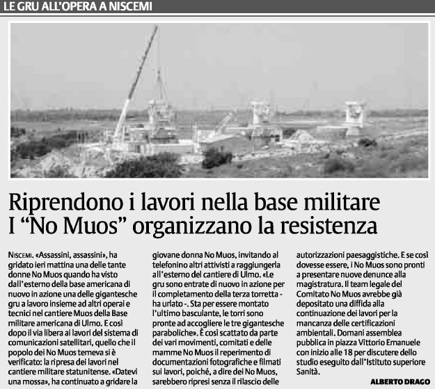 """Riprendono i lavori nella base militare. I """" No Muos"""" organizzano la resistenza"""