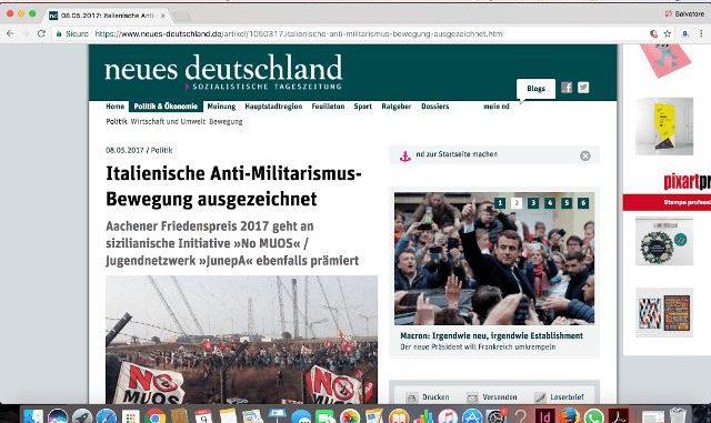 Premio ai No MUOS. L'impietoso confronto tra media locali, nazionali e giornali tedeschi