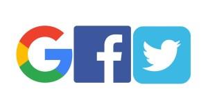 Google, Facebook, Twitter logos