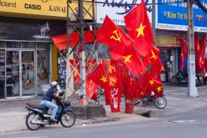 Communist flags for sale in Vietnam