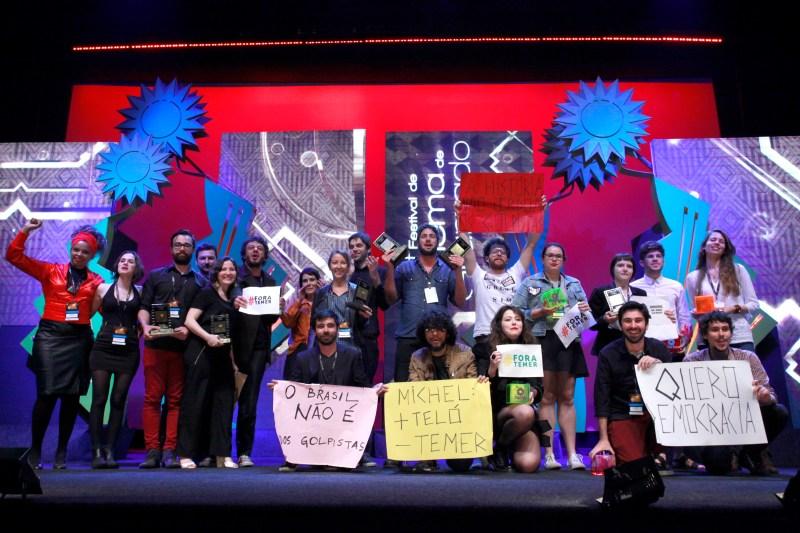 Vencedores do prêmio Assembleia Legislativa - Mostra Gaúcha de Curtas 2016. Foto: Cleiton Thiele/Pressphoto