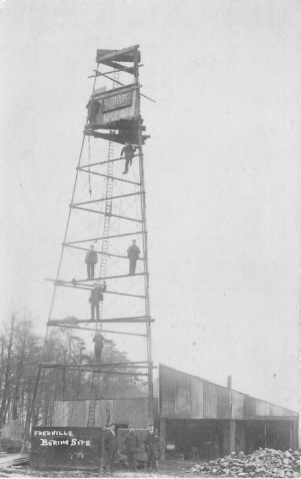 """Boring for coal near Fredville in 1908. The sign at the top of the tower reads """" A.G.Potter & Co., Artesian Well Engineers""""."""