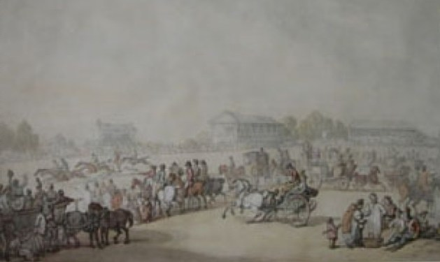 The Canterbury Races by Thomas Rowlandson 1804.During its heyday - approximately 1760 to 1820 - the races were a popular fixture in the area's social calendar. Situated on Barham Downs just across the Wingham Road from Nonington parish. Horse racing took place there between 1729 and 1879.For more information on the race course go to http://www.greyhoundderby.com/Canterbury%20Racecourse.html