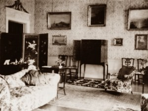 A sitting room in Fredville House, early 1920's, probably just after the Plumptre family moved to Little Fredville.