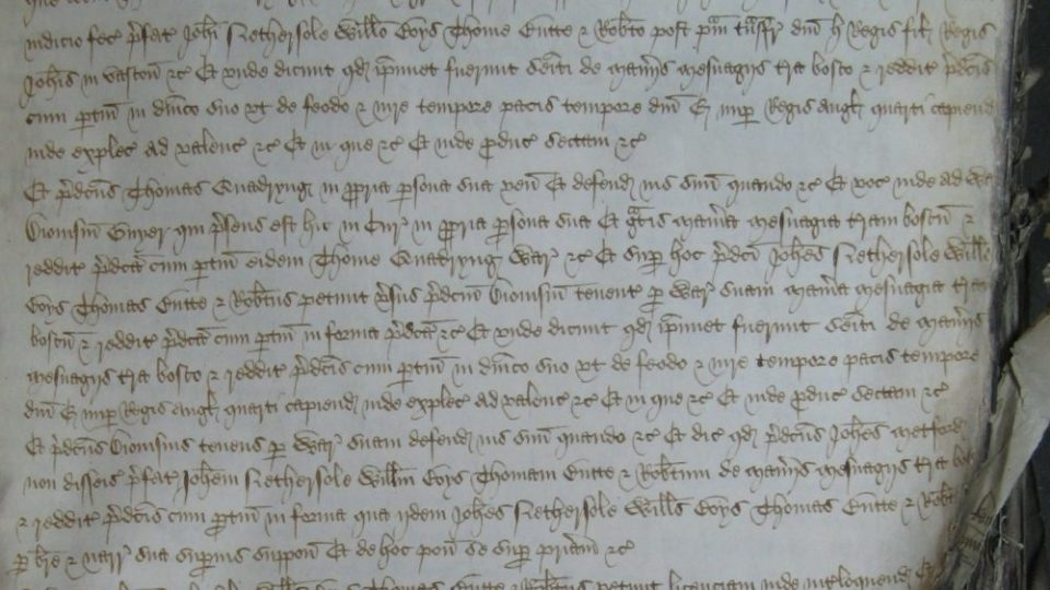 """A contemporary record of the legal proceedings to regain possession of""""the manors of Fredeuyle and Beauchamp'"""