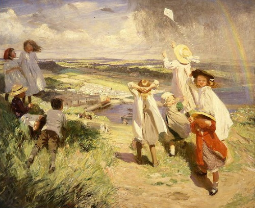 Flying the kite, over Newlyn by Laura Knight