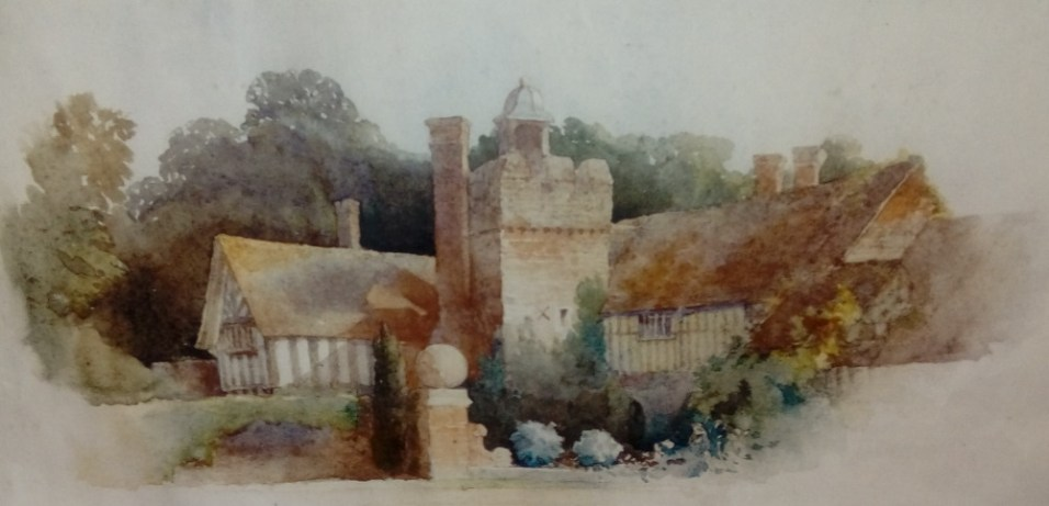 Old St. Alban's House painted in 1893 by W.O. Hammond, the owner, who was a talented amateur water-colourist.
