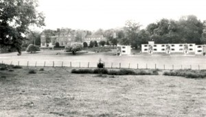 A 1964 view of NCPE from the Sandwich Road showing the then new hostel blocks.