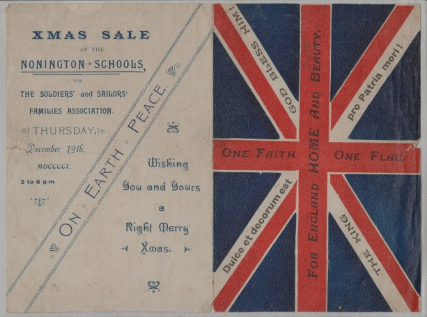 Xmas, 1901. An original programme for a sale on December 19th at Nonington School in aid of the families of soldiers serving in the South Africa Campaign