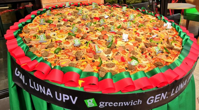 Iconic giant Greenwich pizza.