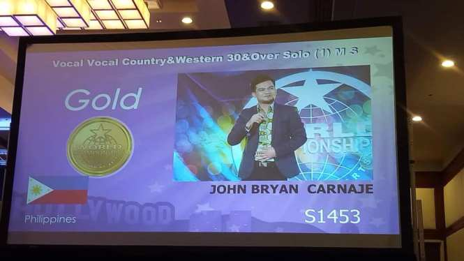 Gold medal in Vocal Country and Western Category.
