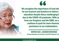 Deped Sec. Leonor Briones on load allowance for teachers and students.