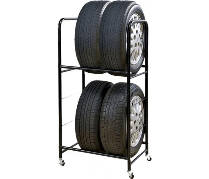 mobile tire rack on 4 wheels 2 tier