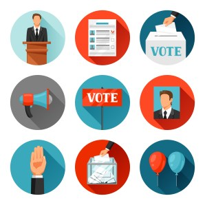 Vote political elections icons. Illustrations for campaign leaflets, web sites and flayers.