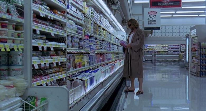 Il grande Lebowski Frasi, citazioni e dialoghi della pellicola di Joel Coen, Drugo fa spesa al supermercato