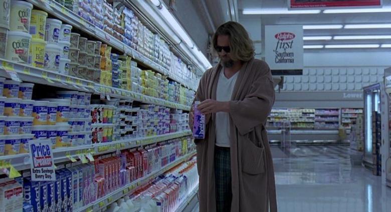 Il grande Lebowski citazioni e dialoghi di Joel Coen con Jeff Bridges, John Goodman, Julianne Moore, Steve Buscemi, drugo supermercato