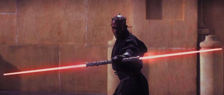 Star Wars Episodio I - La minaccia fantasma citazioni e dialoghi di George Lucas con Liam Neeson, Ewan McGregor, Natalie Portman, Jake Lloyd, spada laser Darth Maul