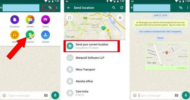 share fake location whatsapp