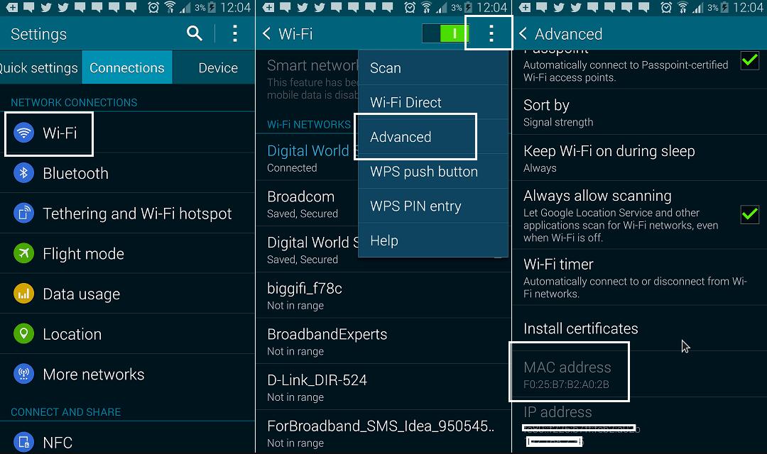 cara melihat mac address sendiri di hp Android