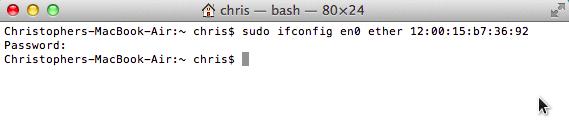cara mengganti mac address di mac os