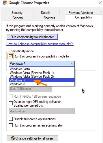 cara menjalankan aplikasi mode compatibility