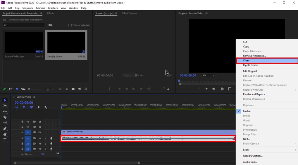 cara menghapus audio di video dengan adobe premiere pro