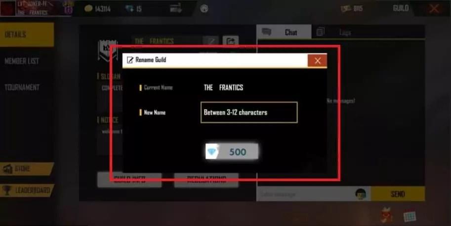 cara merubah nama guild free fire
