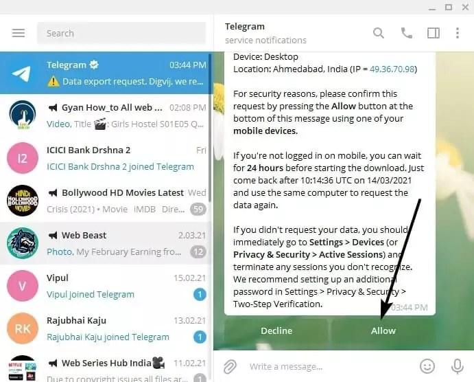 memulihkan pesan telegram yang dihapus