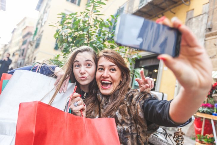Customers taking selfie