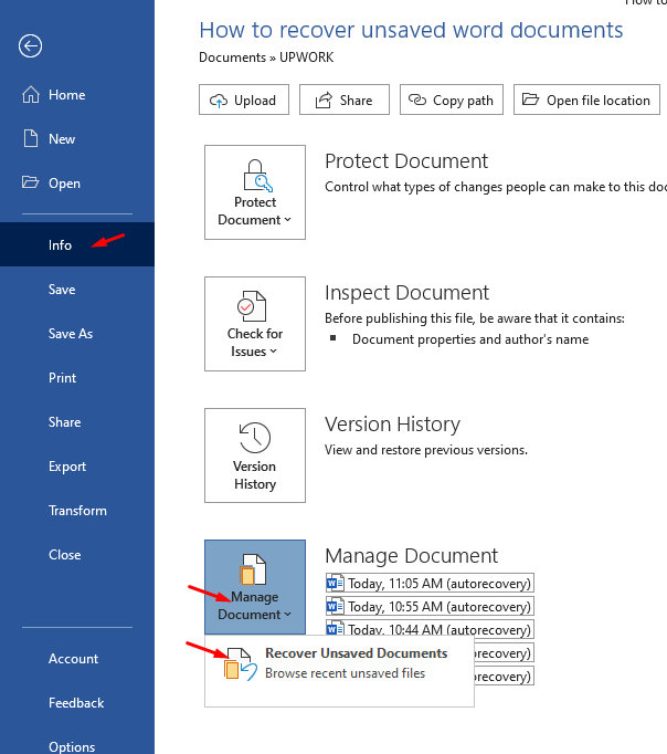 Recover Unsaved Document - screenshot