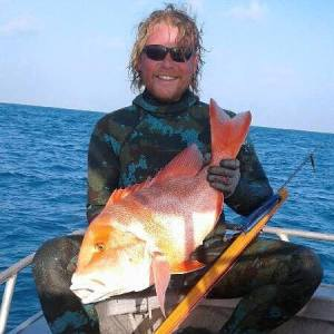 Cameron Bourne Spearfishing with Crocs Tale
