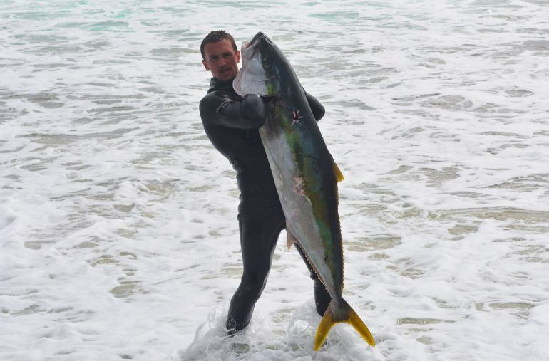 Interview with Adventureman Dan Byrne. Pictured Holding a large New Zealand Yellowtail Kingfish caught spearfishing