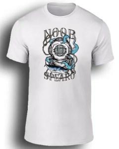 Octopus Blue spearfishing white tee shirt. Noob Spearo