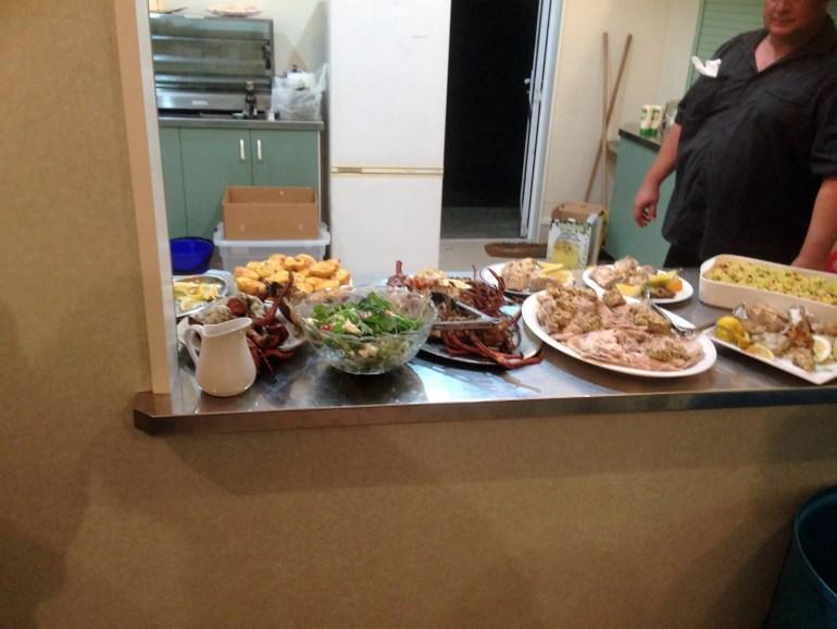 Feeding the wedding crayfish and kingfish