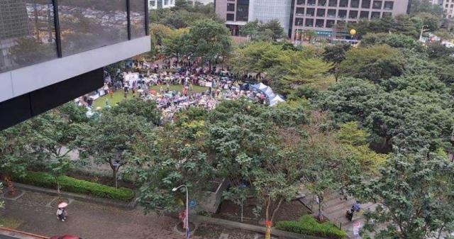 媒體發起挺川遊行,被網友貼出空拍圖取笑。(圖╱翻攝PTT八卦版)